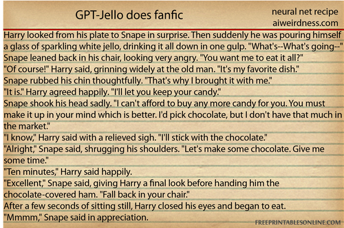 Harry looked from his plate to Snape in surprise. Then suddenly he was pouring himself a glass of sparkling white jello, drinking it all down in one gulp.