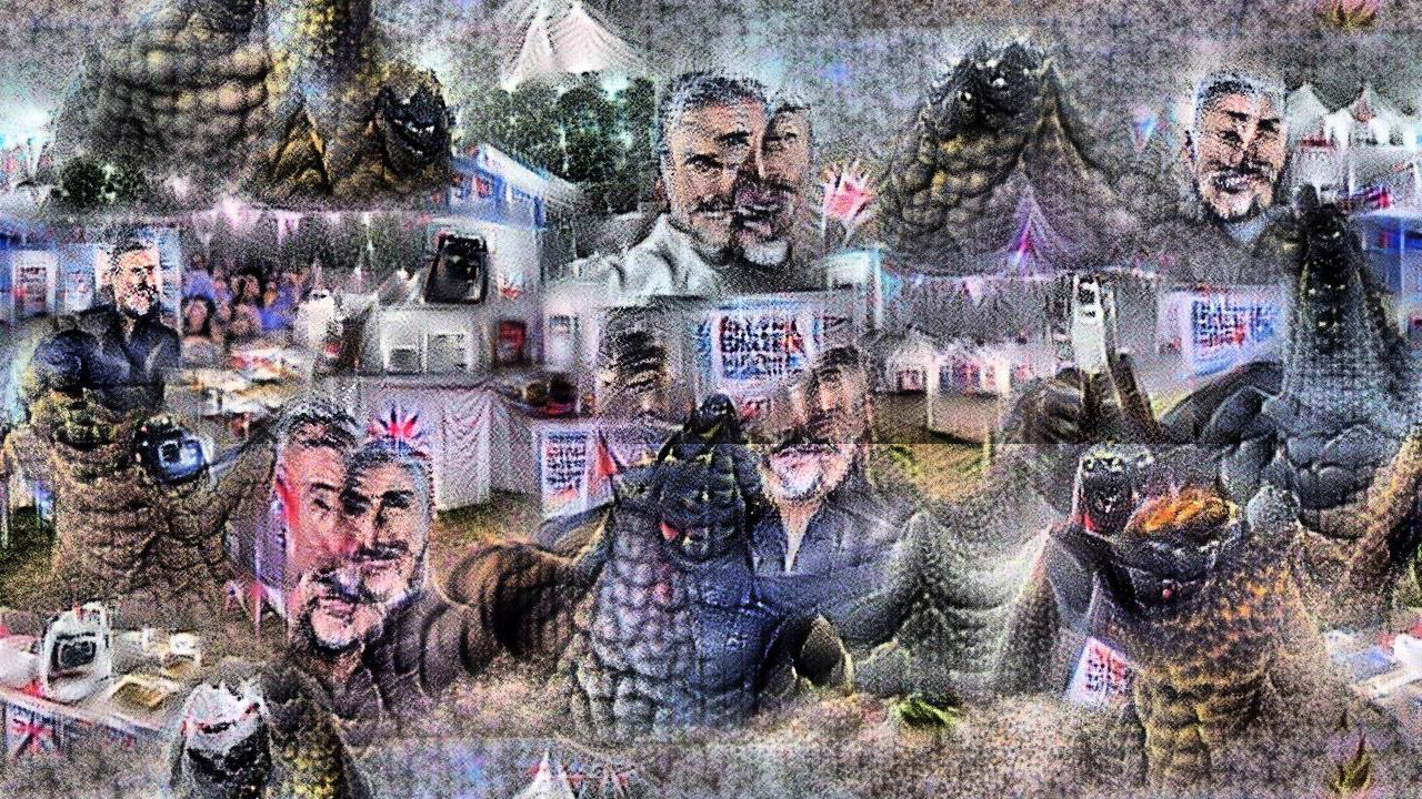 Now Godzilla and Paul Hollywood are seen mostly from torso up. Paul Hollywood's face is in several pieces and godilla doesn't really have a face, more of a hulking presence. Also everything has a dewy glow like a 1990s mall photo.