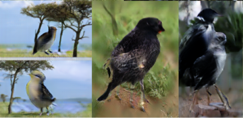 Left: two birds standing near trees. the birds are giraffe-sized.  Center: bird has four giraffe legs and also the faint outline of a giraffe body superimposed over it  Right: Bird (or possibly two birds) with lots of legs