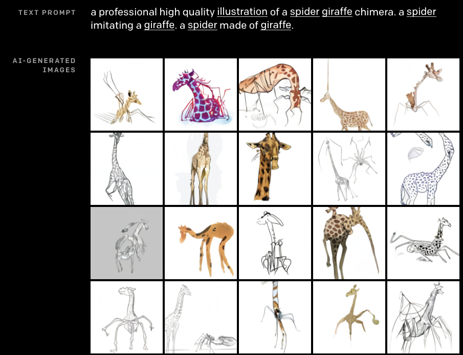 """Prompt: """"A professional high quality illustration of a spider giraffe chimera. A spider imitating a giraffe. A spider made of giraffe. Result: giraffe spiders are mostly head and body of a giraffe with a tangle of angular legs. sometimes the legs also emerge from the giraffe's head"""