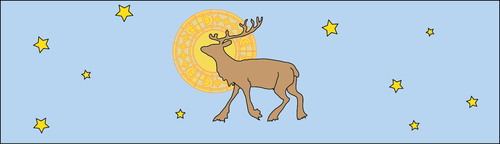 flying reindeer has a medieval halo