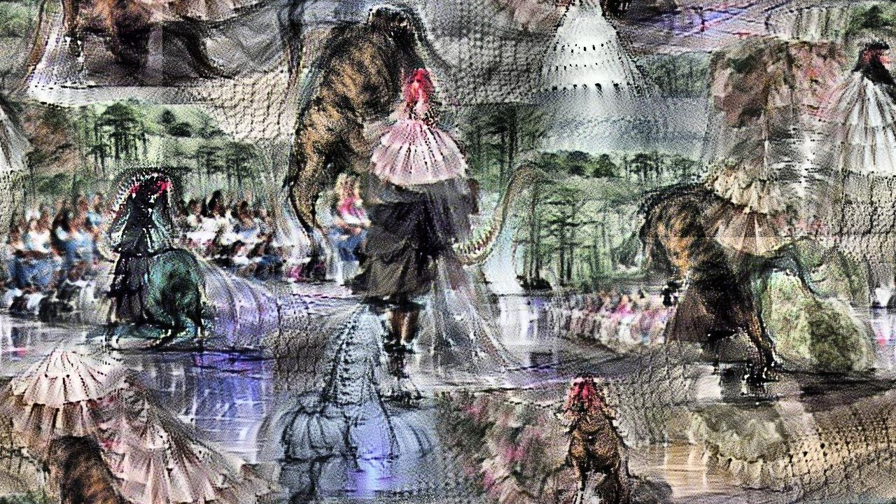The tyrannosaurus isn't identifiably *in* the dress per se, but there are many tiered floofy white dresses, and strong hints of tyrannosaurus legs and tails, and nice Cretaceous trees in the background. Crowds line the runway.