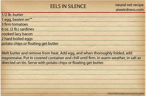 EELS IN SILENCE 1/2 lb. butter 1 egg, beaten en