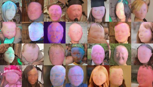 Grid of recognizably human faces, but their features are becoming indistinct and their foreheads have expanded. Most have taken on an orange, blue, or magenta cast.
