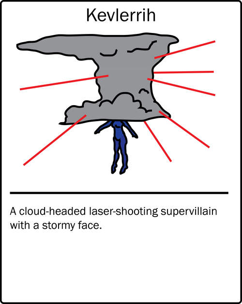 Kevlerrih – a cloud-headed laser-shooting supervillain with a stormy face. He is the enemy of Kevlerrih2, a similarly named character who is also in this list.
