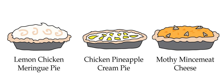 Chicken Pineapple Cream Pie, Lemon Chicken Meringue Pie, Mothy Mincemeat Cheese