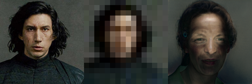 Left: Kylo Ren from the shoulders up. Center: highly pixelated (16x16) version of the previous image. Right: Where Kylo's cheekbones were, there's now voldemort-like eyes. Where his chin was, is now the upper lip of someone whose lower face is lost in shadow.