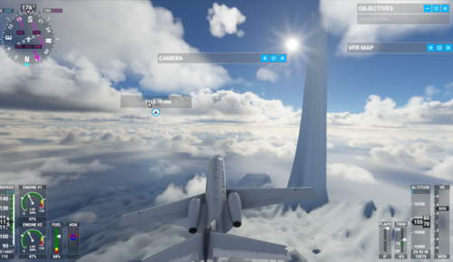 Flight Simulator screenshot showing a plane flying at around 15,500 feet, over a strangely scalloped icy landscape. Rising out of the ice is an impossibly pointy mountain that's at least 20,000 feet tall.