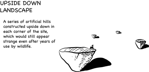 Illustration of Upside Down Landscape: four upside down hills on a vast empty landscape. There's a deer standing on one of them.