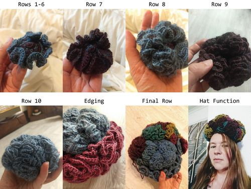A brain-shaped crochet ball gets more and more ruffled. In the final step, it's the size of an actual human brain and someone is wearing it as a hat.
