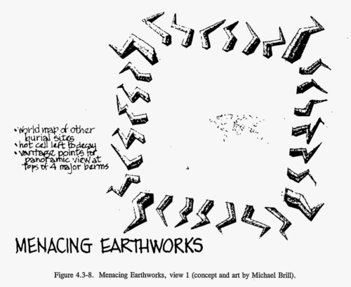 Menacing Earthworks are large mounds of lighting bolt-shaped dirt surrounding an empty square area. A map of the world is barely visible at the center. (concept and art by Michael Brill)