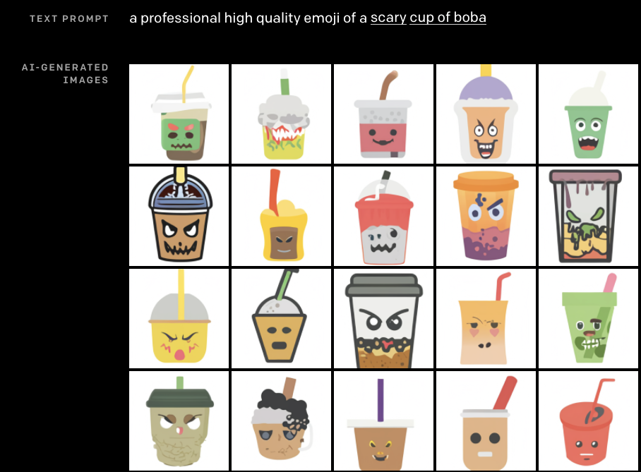 """Prompt: """"A professional high quality emoji of a scary cup of boba"""". Result: Boba often has angry eyebrows or jagged teeth. One is crumpled and rotting on the bottom."""