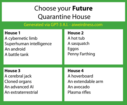 Theme: Future  House 1: A cybernetic limb Superhuman intelligence An android A battle tank  House 2: A hot tub A sasquatch Eggos Penny Farthing  House 3: A cerebral jack Cloned organs An advanced AI An extraterrestrial  House 4: A hoverboard An extendable arm An avocado Plasma rifles