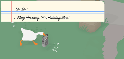 to do: play the song 'it's raining men'. Goose is holding a radio.