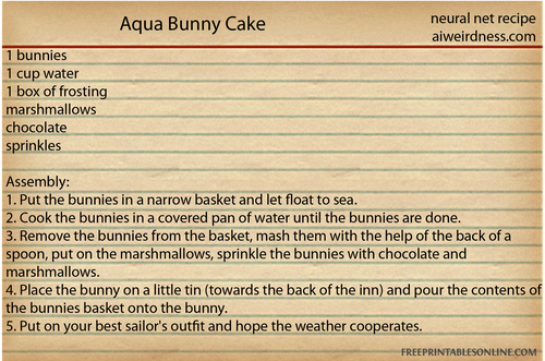 Aqua Bunny Cake 1 bunnies, 1 cup water, 1 box of frosting, marshmallows, chocolate, sprinkles  Assembly: 1. Put the bunnies in a narrow basket and let float to sea. 2. Cook the bunnies in a covered pan of water until the bunnies are done. 3. Remove the bunnies from the basket, mash them with the help of the back of a spoon, put on the marshmallows, sprinkle the bunnies with chocolate and marshmallows. 4. Place the bunny on a little tin (towards the back of the inn) and pour the contents of the bunnies basket onto the bunny. 5. Put on your best sailor's outfit and hope the weather cooperates.